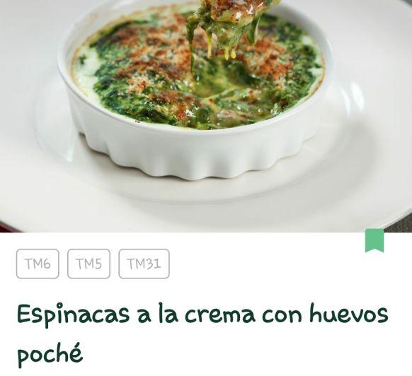 ESPINACAS A LA CREMA CON HUEVOS POCHE CON Thermomix® . MÓSTOLES