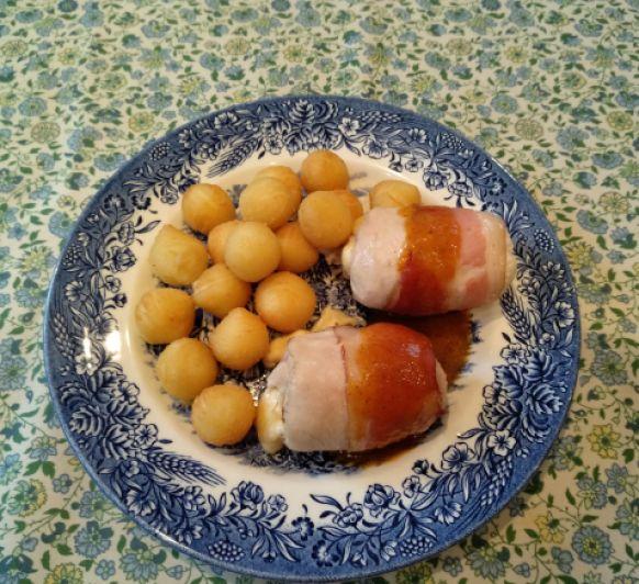 Rollitos de pollo con salsa agridulce