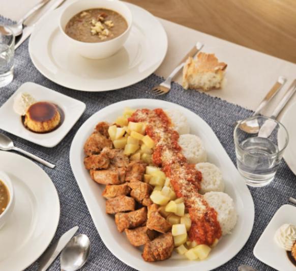 Menú completo con Thermomix® : Lentejas estofadas. Solomillo de cerdo con patatas y salsa de tomate. Quesillo